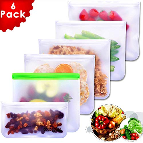 Eoglo Reusable Storage Bags (6 Pack) | To Go + Store + Freeze | Lunch Sandwiches | Kids Food | Snacks and Fruits | Travel Toiletries | EXTRA THICK | LeakProof | Resealable | BPA Free