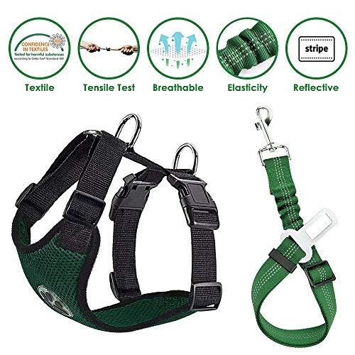 Lukovee Dog Safety Vest Harness Seatbelt, Dog Car Harness Seat Belt Adjustable Pet Harnesses Double Breathable Mesh Fabric Car Vehicle Connector Strap Dog (Large, Green+Green Seatbelt)