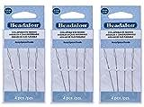 3-PACK - Beadalon Collapsible Eye Beading Needles 2.5-Inch Heavy 4 per Pack (Total 12 Needles)