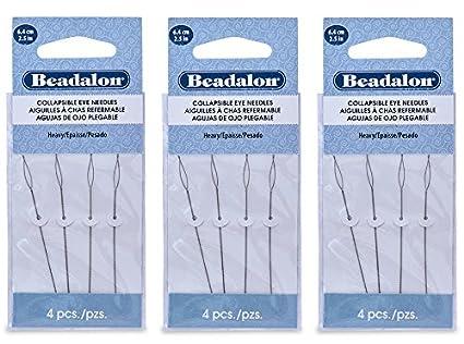 Beadalon Beading Needles 4 Pack Collapsible Eye 2.5 Inch fine