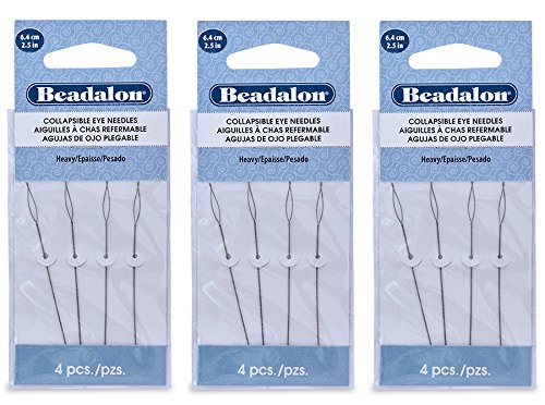 Heavy Needle (3-PACK - Beadalon Collapsible Eye Beading Needles 2.5-Inch Heavy 4 per Pack (Total 12 Needles))