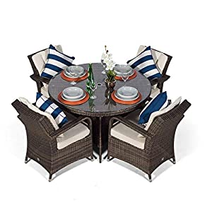 Arizona Rattan Dining Set | Round 4 Seater Brown Rattan Dining Set | Outdoor Poly Rattan Garden Table & Chairs Set | Patio Conservatory Wicker Garden Dining Furniture with Parasol & Cover