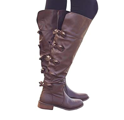 a69e4490b53e Image Unavailable. Image not available for. Color: Fashare Womens Knee High  Tall Boots Flat Low Heel Back Bow Tie Winter Shoes with Side
