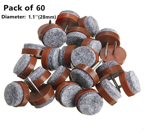 YYaaloa 60pcs 1.1'' Brown Nail-on Anti-Sliding Felt Pad (28mm/1.1'' Brown 60pcs)