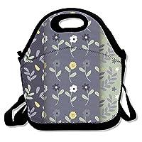 Vintage Floral Pattern Lunch Bag Fits For School Travel Outdoor