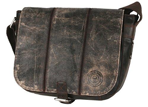 Schultertasche Ledertasche Umhängetasche Tasche Herren und Damen CRICKET Leder Farbe grauschwarz 25-0288