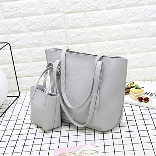 Black Bag Handbag Kanpola Leather Women 4Pcs Pattern Bag Gray Shoulder Wallet Crossbody wwgXnv4qR