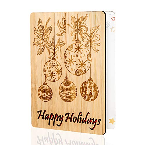 Happy Holidays Cards/Gifts : Laser Engraved Ornament Design. Handmade Real Bamboo Christmas Card. Perfect For Sending Merry Xmas Or Seasons Greetings To Husband, Wife, Parents, Her, Him And Friends