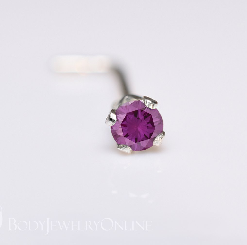 Genuine PURPLE DIAMOND Nose Stud 2mm - Post w/ 14k Solid Yellow or White Gold or Sterling Silver - Helix Tragus Lobe Lip Cartilage