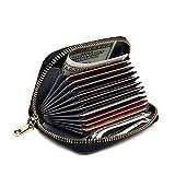Pomoda RFID Blocking Wallet, Genuine Leather Credit Card Case Holder(Black)