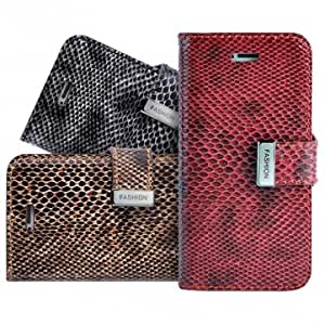 Snake Skin With Aluminum Buckle Leather Wallet Case For iPhone 5 --- Color:Red