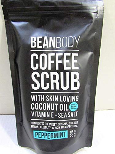 Mr. Bean Organic All Natural Coffee Bean Exfoliating Body Skin Scrub with Coconut Oil, Vitamin E, and Sea Salt - Peppermint