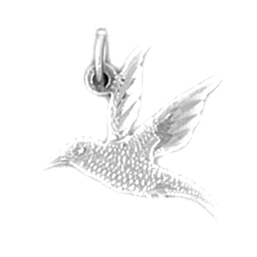 Jewels Obsession Hummingbird Charm Pendant 14K White Gold Hummingbird Pendant 15 mm