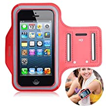 Korecase Sport Armband Water Resistant Screen Protector for Apple iPhone 5C 5S SE 5 and iPod Touch 5 With Key Holder and Headphone Jack (Red)