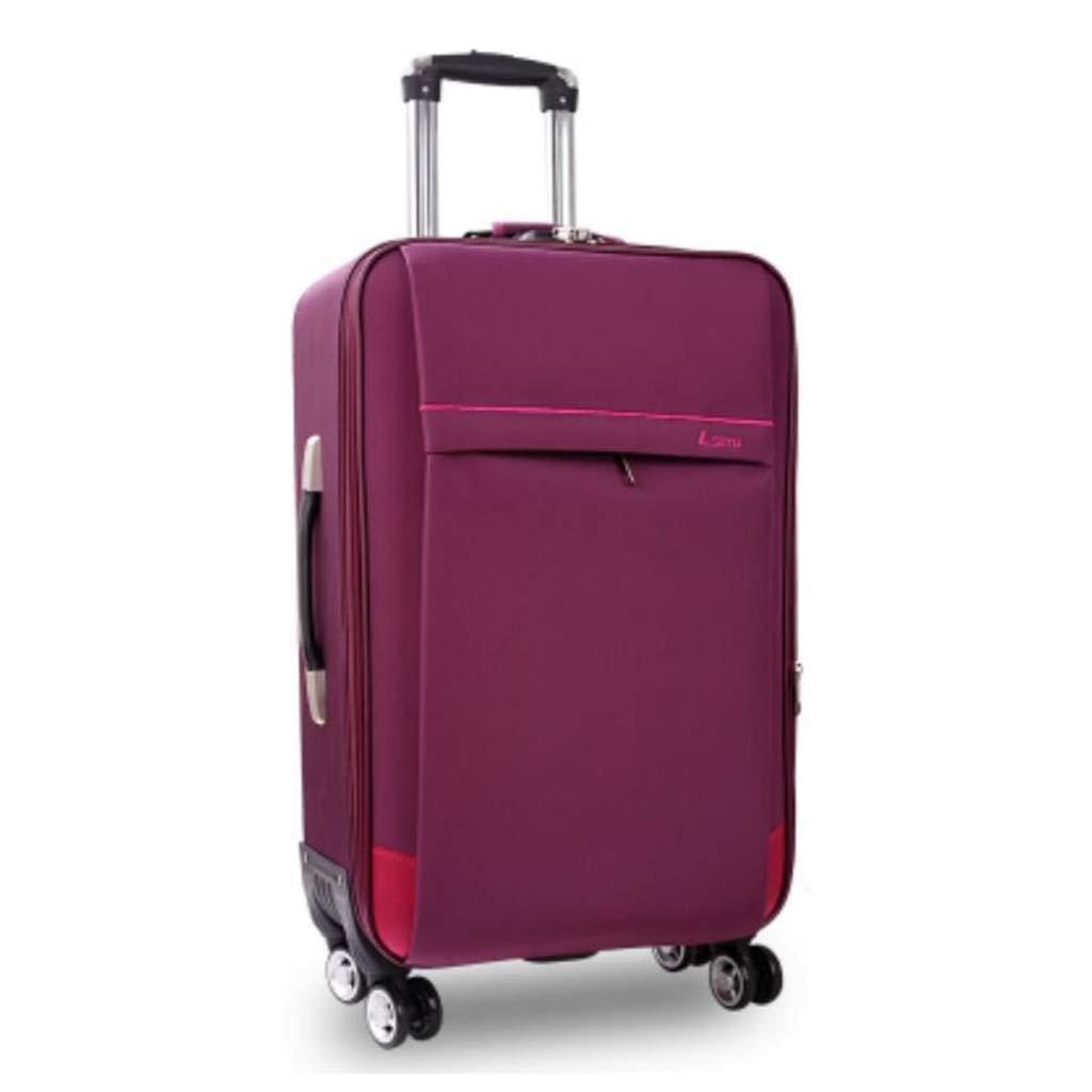 トロリー箱、男女兼用のオックスフォードの布旅行は4つの無言の紡績工の車輪が付いている小屋手の荷物のスーツケースで続けます (色 : Purple, サイズ さいず : 24 inches) 24 inches Purple B07MPQXM13