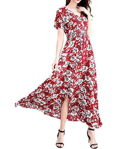 Floral Maxi Dresses for Women Elegant Petite Flowy Slip Muumuu Dress Red S