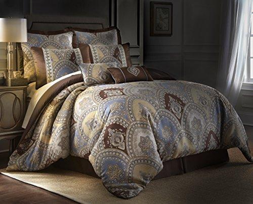 Sterling Creek Venetian 8-piece Medallion Floral Jacquard Oversized Comforter Set (King)