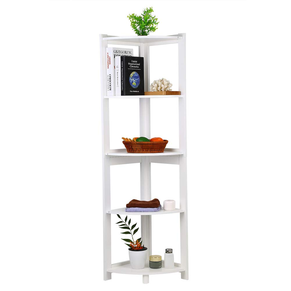 Yosoo Corner Bookshelf Storage Cabinet Bookcase Rack, 5-Tier Storage Rack, Shelf Display Rack Organizer, Shelving Unit for Home Office, Study, CD Book Decor, White