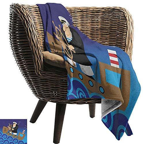Nautical,Weave Pattern Extra Long Blanket,Captain on Ship with Wavy Ocean Cartoon Style Illustration Marine Adventure Design 60
