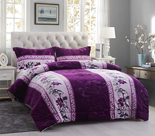 All American Collection Super Soft Bedroom Elegant Luxury Solid Embossed Floral 3 PC Sherpa Blanket with Pillow Shams (King, Purple)