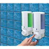 Aviva L2 Double Chamber White Soap Dispenser lock top - Secure & Simple Adhesive fixing - no screws needed
