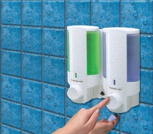 Aviva L2 Double Chamber White Soap Dispenser lock top - Secure & Simple Adhesive fixing - no screws needed Better Living
