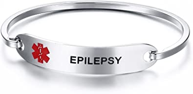 "2 x Stainless steel medical alert /"" Epilepsy  /"" round  pendant 20mm"