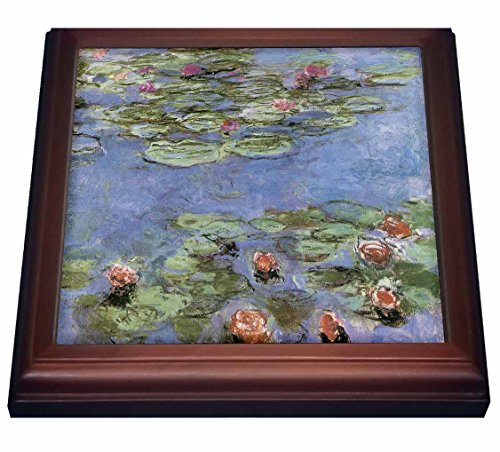 3dRose trv_164644_1 Water Lilies Vintage Monet Trivet with Ceramic Tile, 8 by 8