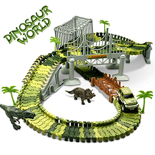 Fun Toys for 3-12 Year Old Boys, Dinosaur Toys Race Track Sets Car Race Tracks Kids Dinosaur Train Set for Boys Toddlers Best Birthday Gifts for 3-12 Year Old Boys DI03