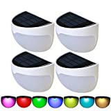 4 Packs Solar Garden Lights, HUANLEMAI RGB Wall Mounted Solar Fence Post Lamps Semi Circle Waterproof for Garden Patio Path Stairway Pathway Driveways Stairway Deck (Colorful Solar Lights)