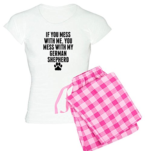 CafePress You Mess with My German Shepherd Pajamas Womens Novelty Cotton Pajama Set, Comfortable PJ Sleepwear