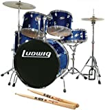 Ludwig Accent Fuse Blue 5-Piece Drum Set Bundle with Vic Firth American Classic 5A Drum Sticks