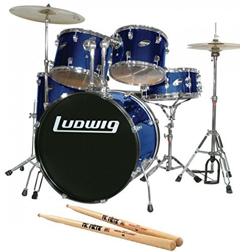 Ludwig Accent Fuse Blue 5-Piece Drum Set Bundle with Vic Firth American Classic 5A Drum Sticks ()