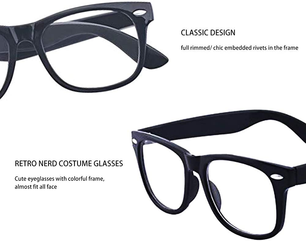 Outray 3 Pack Kids Children Nerd Retro Clear Lens Eye Glasses Age 3-10