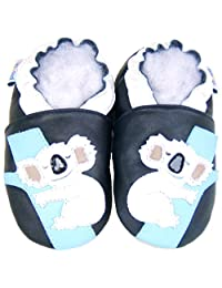 soft sole leather baby shoes infant toddler child kid boy girl crib shoes Koala Navy