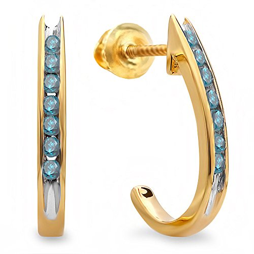 0.25 Carat (ctw) 18K Yellow Gold Round Blue Diamond Ladies Fancy J Shaped Hoop Earrings 1/4 CT by DazzlingRock Collection