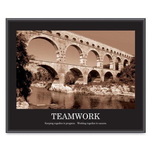 - ADVANTUS Framed Motivational Print, Teamwork, Sepia-Tone, 30 x 24 Inches, Black Frame (78162) by Advantus