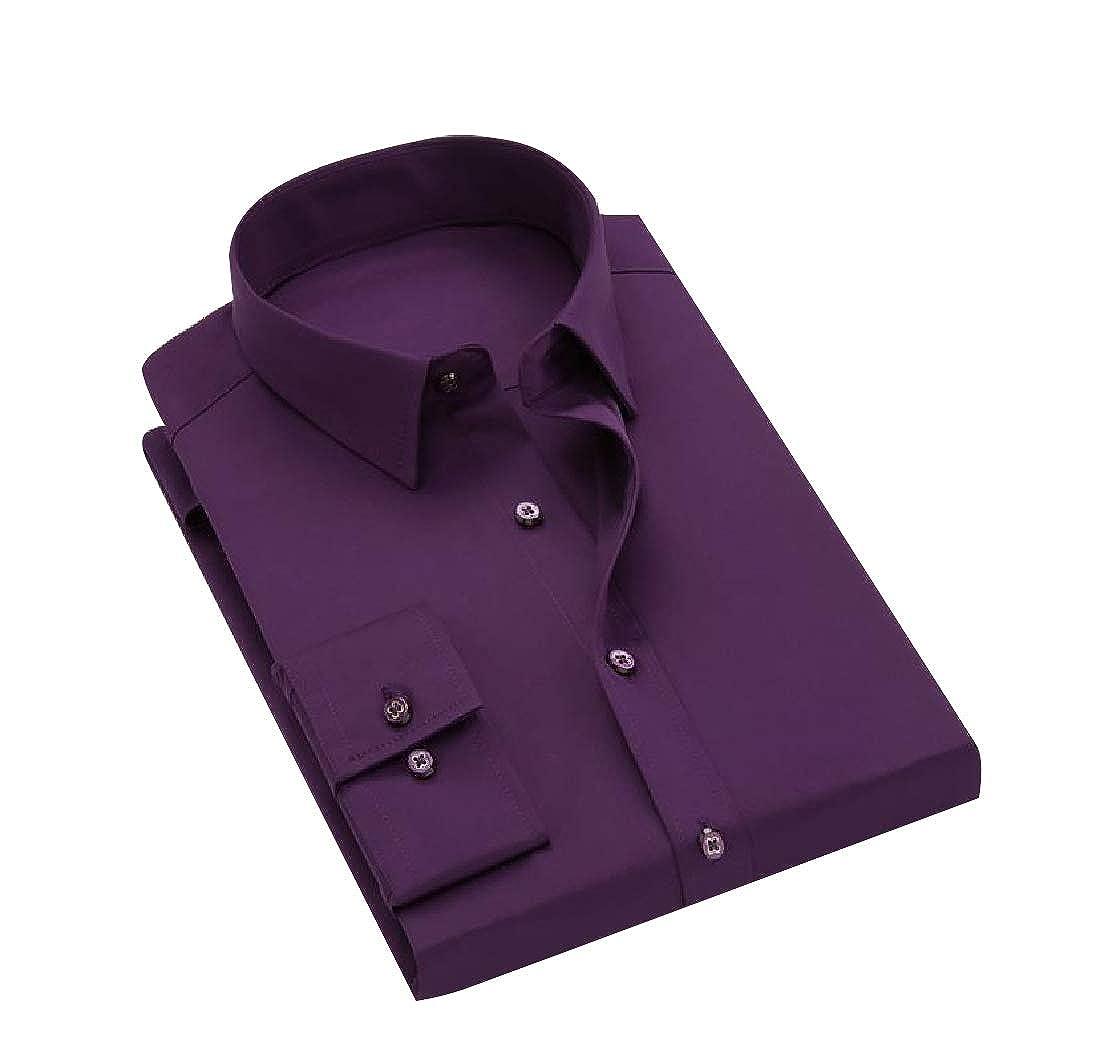 Vska Mens Fall Winter Business Fit Solid Single Breasted Dress Shirt