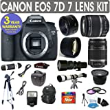 Canon EOS 7D + Canon 18-55mm Lens + Canon 55-250mm Lens + Canon 50mm Lens +500mm Preset Lens + 650-1300mm Lens + .40x Fisheye Lens + 2x Telephoto Lens + 3 Year Celltime Warranty Repair Contract