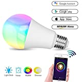 Smart Bulb, WiFi Led Hue Light E27 Bulb Colour Lamp Works with Amazon Alexa and Google Home, RGBW Colour Changing, 60W Equivalent, Timing Function, Remote Controlled by IOS/Android Devices, No Hub Required, Mood Led Party Lights or Decorative Bulbs Warm White[Energy Class A+]