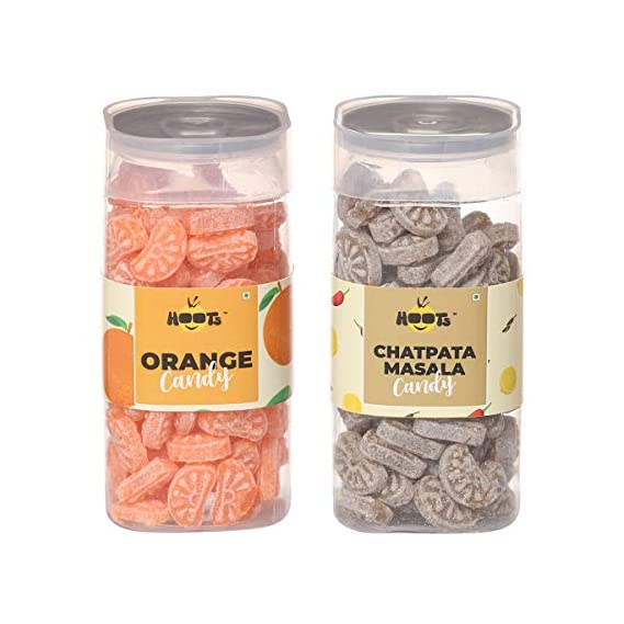 Hoots Candy Combo Pack of of Orange Candy & Chatpata Masala Candy Combined Weight 420gms