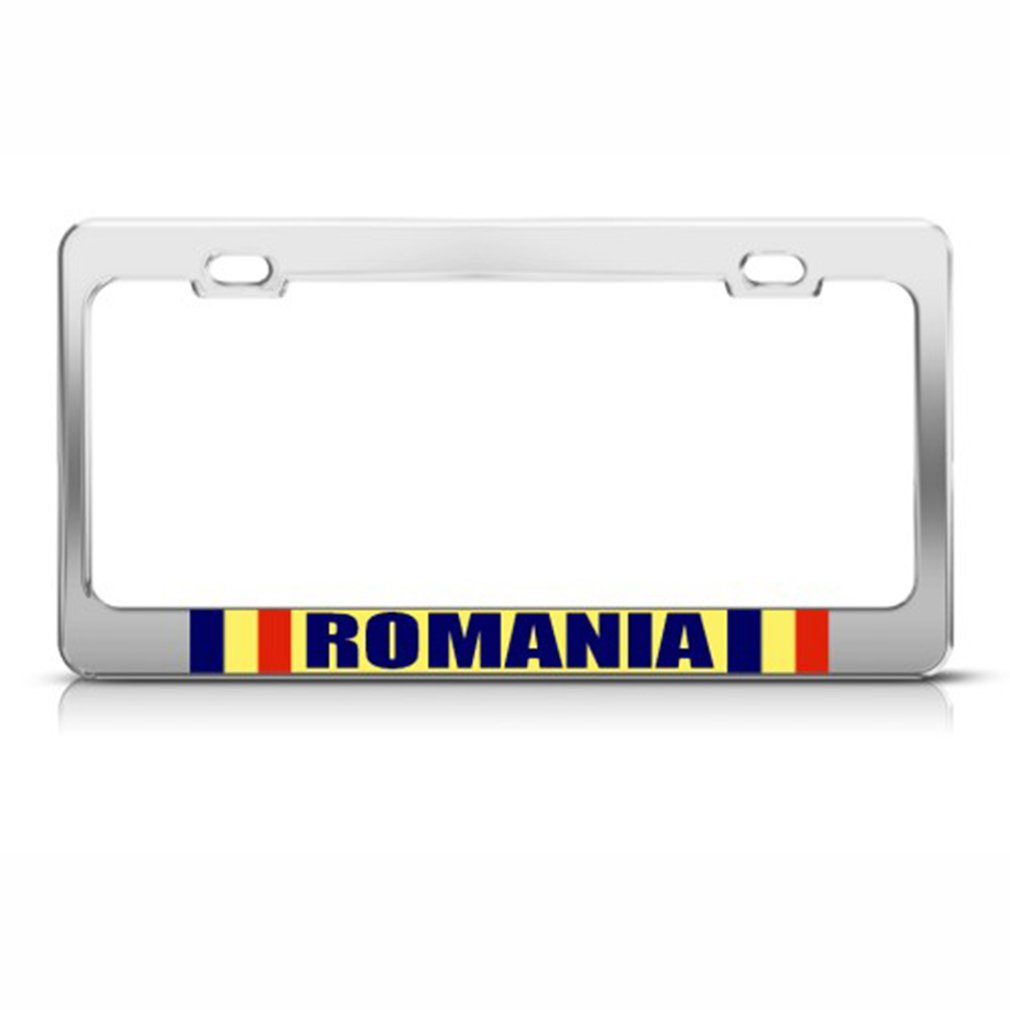 ROMANIA FLAG ROMANIAN COUNTRY License Plate Frame Stainless Metal Tag Holder