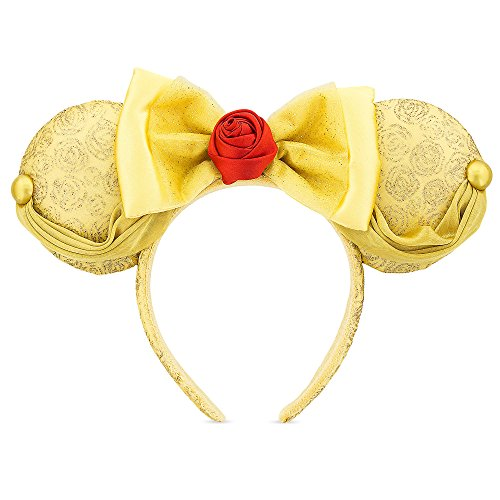 Price comparison product image Disney Parks Belle Ear Headband Gold Satin, Ribbon, Glitter & Rose Minnie Mouse