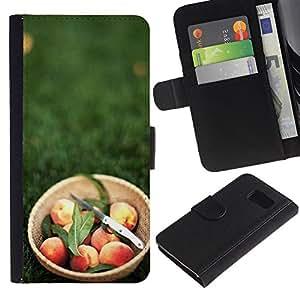 KLONGSHOP / Tirón de la caja Cartera de cuero con ranuras para tarjetas - Fruit Macro Peach Basket;; - Samsung Galaxy S6 SM-G920