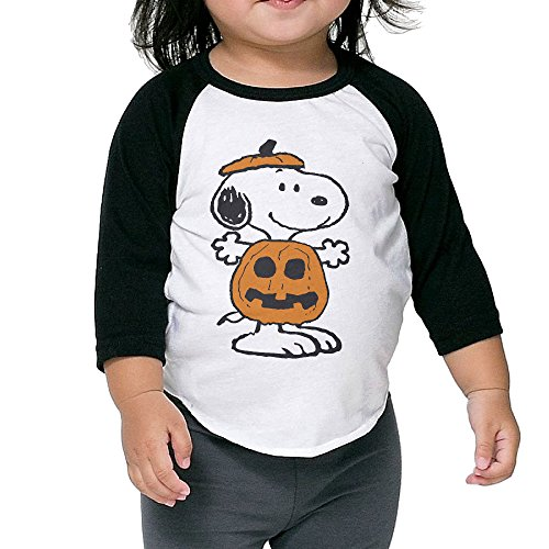 FReegg Unisex Kids Pumpkin Snoopyy Halloween 3/4 Sleeve Baseball Shirts (2-6 Years)]()