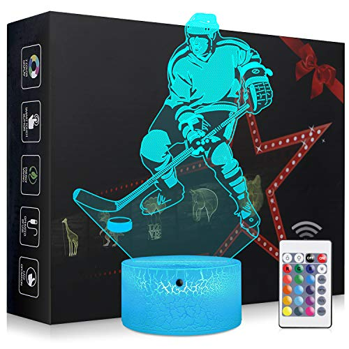 (Elstey Ice Hockey Night Light,3D Kids Bedside Lamps,Frame Table Lamp,Eye See Lamps,Touch&Remote Control,16 Colors+7 Colors Changing Illusion Nightlight,Birthday Gifts for Girls Boys)