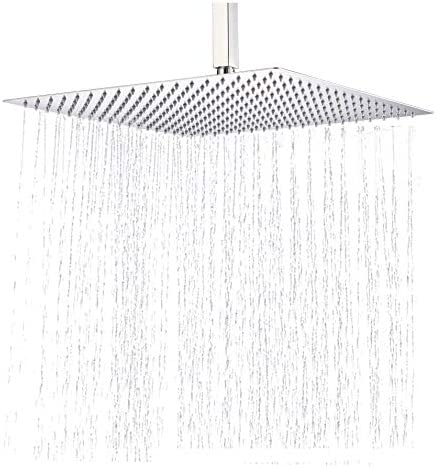 Rozin 16-inch Ultra Thin Rain Shower Head Rainfall Square Overhead Spray Brushed Nickel