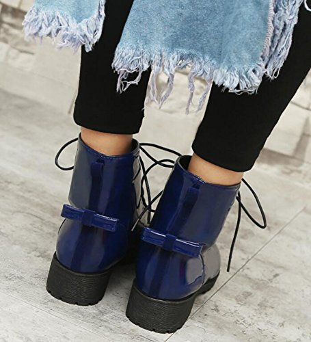 Heels Up Low Lace Chunky IDIFU With Bows Boots Fashion Ankle Women's Blue 1qpxRt