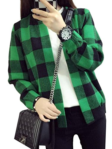 Vska Women Knit Classic Plaid Long Sleeve Knitwear Cardigan Green OS