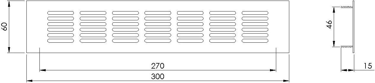 Grille da/ération en aluminium Blanc 60 x 300 mm
